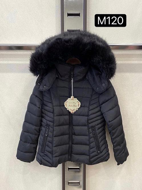 Girls Black faux fur hooded jacket 4-14 Years