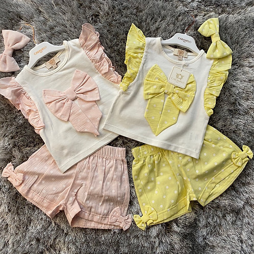 Caramelo spotted bow sets 2-8 Years