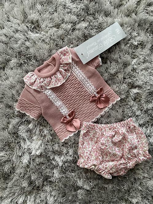 Bebe Caramel dusky pink floral set NB-12 M