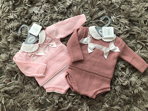 Spanish pink/dusky pink double bow set Nb-9M