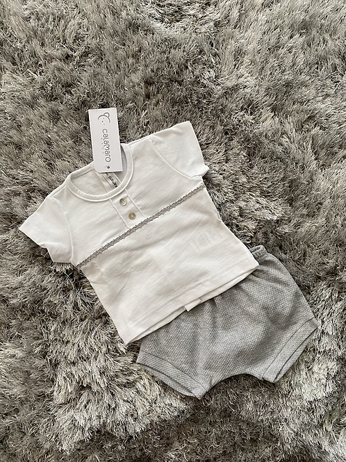 Calamaro white top/grey shorts 3-6M