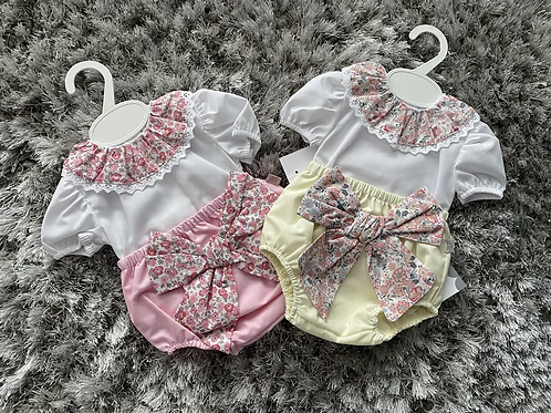 Floral collared big bow jam pants set 0-24 Months