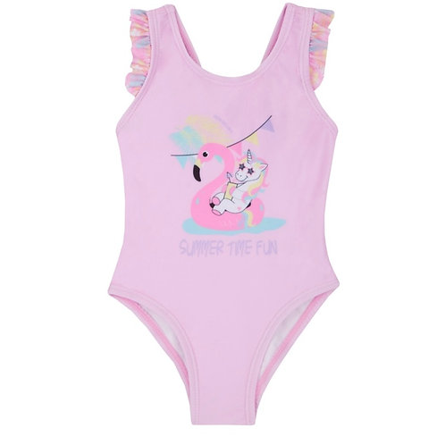 Girls flamingo frill swimming costume 2-6 YRs