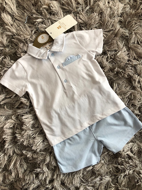 Mintini white shirt and shorts 12-24 M