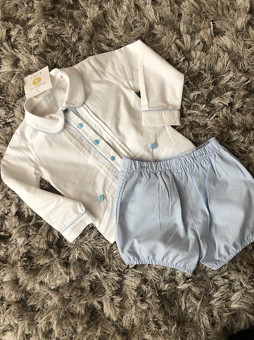Mabini pleated shirt and shorts set 0-4 YR