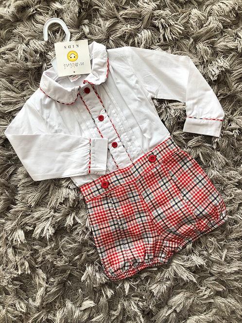 Mabini red and cream shirt set 3-18 M