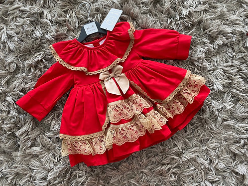 Wee Me red/camel drop waist Spanish dress 12-3Yrs