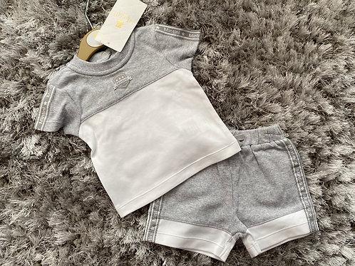 Mintini baby grey/white shorts set 0-24 Months