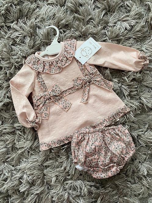 Wee Me Peachy floral A line dress 0-3 Yrs
