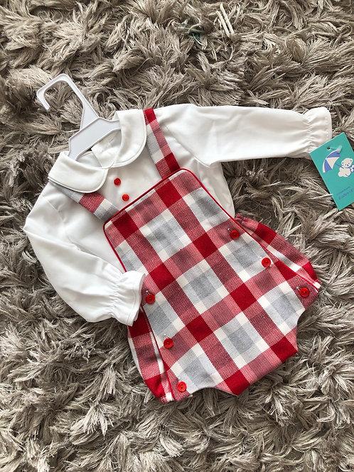 Baby Ferr Red chequered romper 0-18 Months