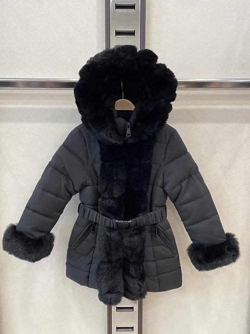 Girls black faux fur winter coat 4-14 Years