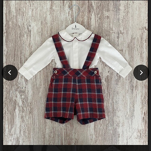 Laivicar red and navy chequered two piece 0-24 Months