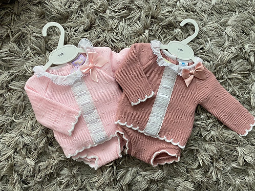 Spanish lace and bow jam pants outfit 0-12 M