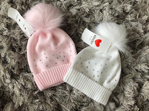 Kinder diamanté hat pink white 2-4 yrs