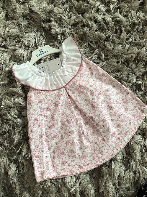 Calamaro floral pink dress 6-18 months