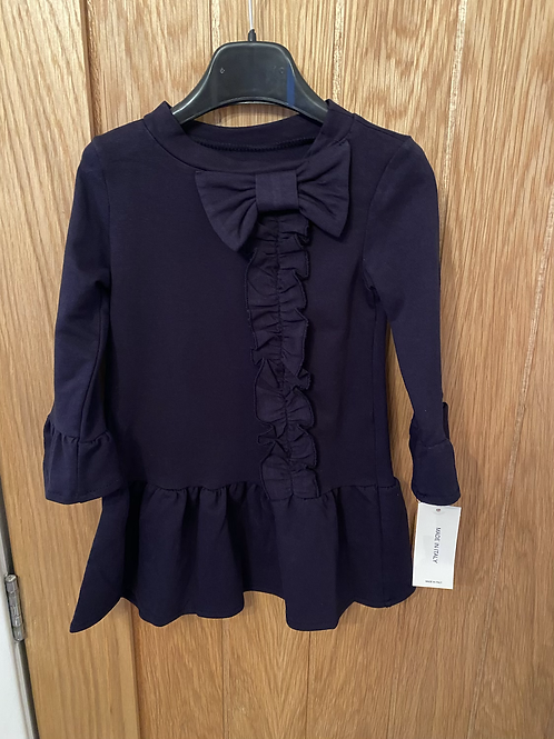 Navy bow ruffle dress ages 1-10 Years