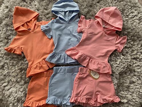 Girls hooded ruffle shorts sets 4-14 Years