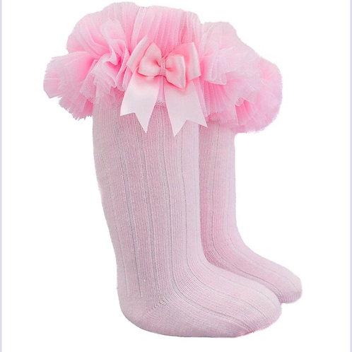 Tutu Frill knee high pink socks