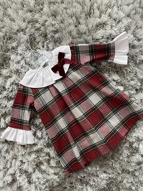 Babidu Red/Grey Chequered dress 12M-8Yrs