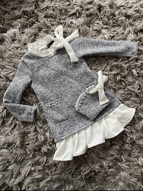 Grey knitted pearl dress with bag Ages 2-8 Yrs