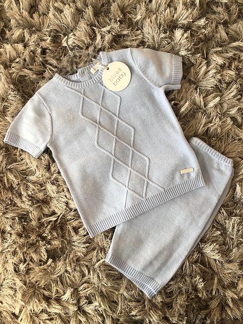 Blues baby diamond knit two piece blues 0-24M
