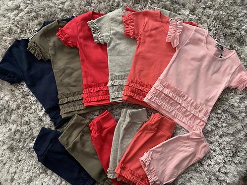 Girls ruffled shorts set ages 2-13 Years