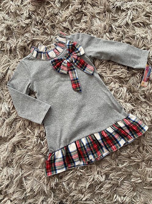 Tartan trim/collar dresses grey Age 2-12 Years