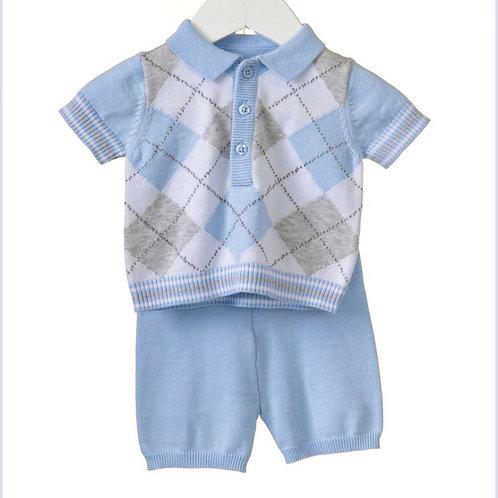 Blues baby blue/grey argyle set 0-3 YRS
