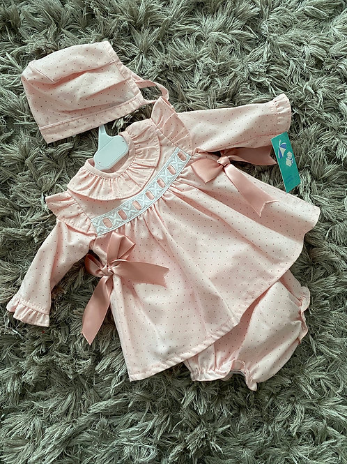 Baby Ferr pink dotted 3 piece set 0-36 M