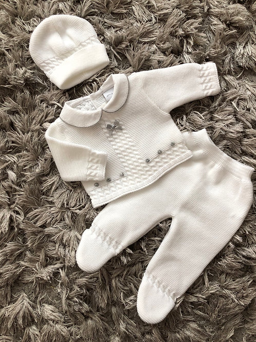 Dandelion white/grey 3 piece outfit NB-3M
