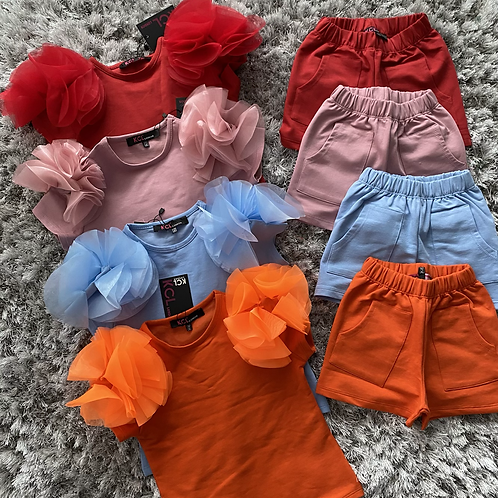 Girls flounce ruffle shorts sets ages 2-10 Years