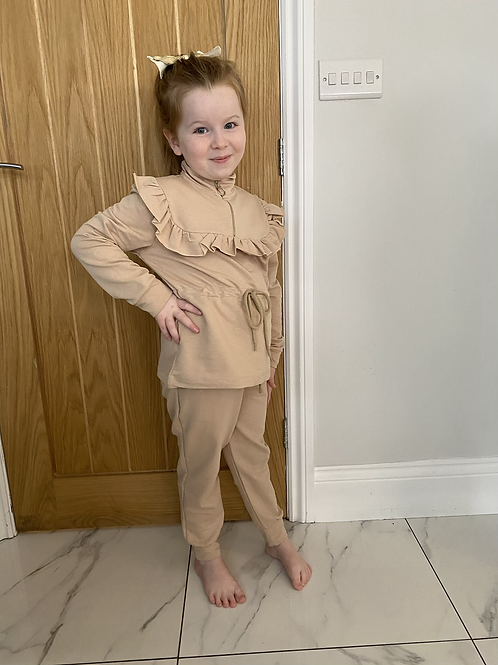 Beige tie waist lounge set ages 2-10 Years