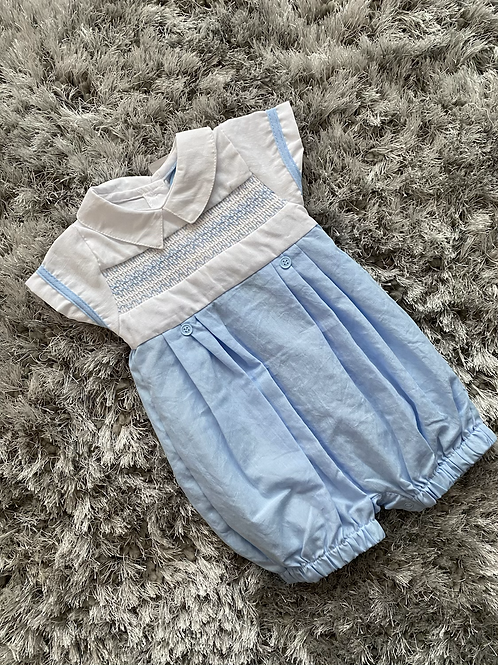 Rock a Bye Baby white/blue smocked romper 0-9M