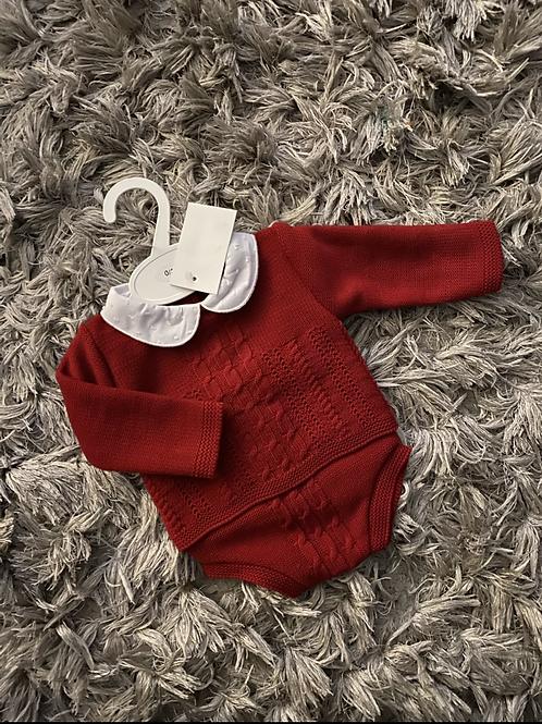Ninas y Ninos red cable knit jumper/pants 0-9 M