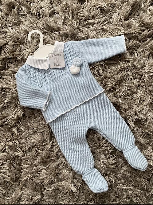 Spanish blue  Pom Pom suit 0-6 Months