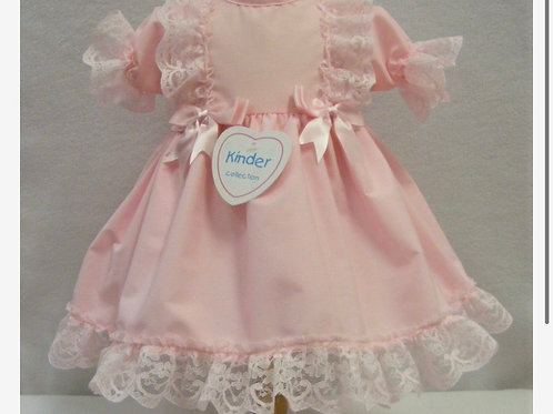 Kinder Boutique pink bow and lace dress 3-24 Months