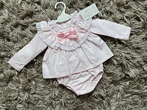 Wee Me Pink frill collar dress/nappy cover 3-36 M