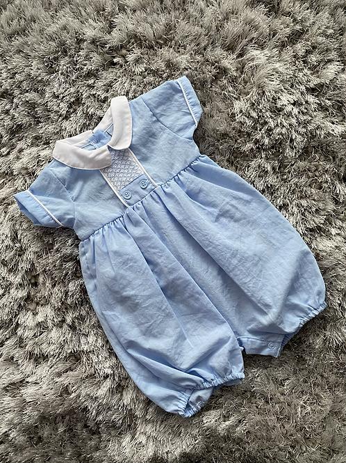 Baby blue smocked romper 0-6 Months
