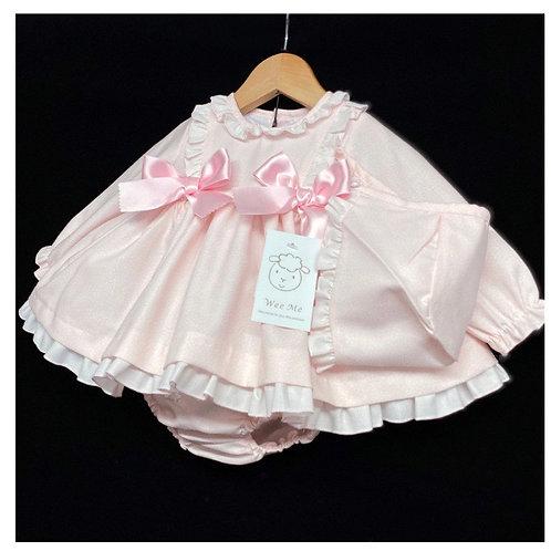 Wee Me pink puff ball dress with bonnet 0-36 Months