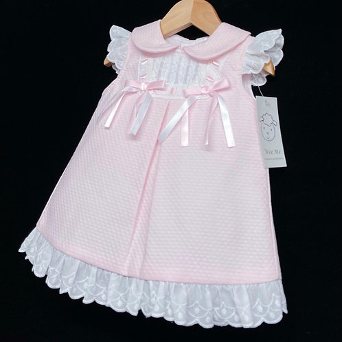 Wee Me pink dress with white embroidery and bows 0-36 Months