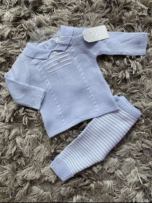 Rock a bye baby blue collared two piece 0-9M