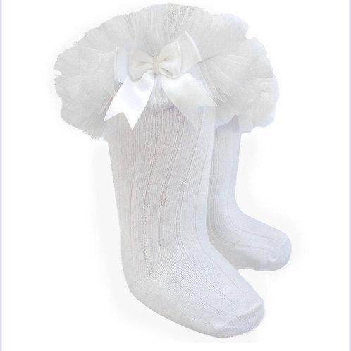 Tutu Frill knee high white socks
