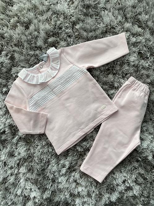 Babidu pink/white frill collar jogging suit