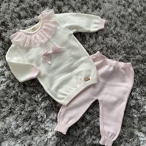 Cream/pink bow lace collar two piece set 0-18 Months