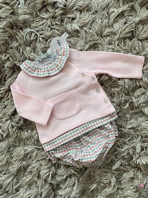 Babidu pink/grey chequed tartan set 0-3 Yrs