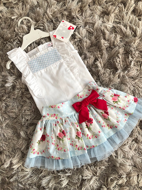 Alber blue rose bouquet pleat skirt and top ages 2-8years