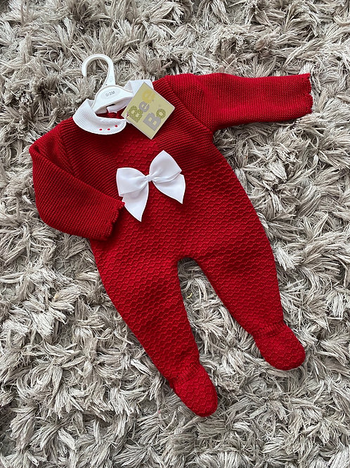 Red romper,  white collar and bow 0-12 Months