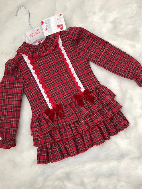 Alber Red Tartan spanish dropwaist dress
