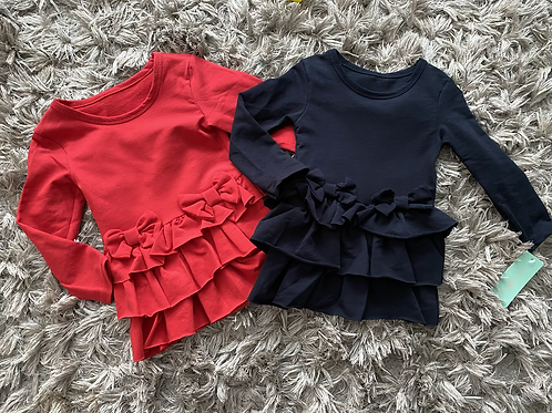 Double bow dress red/navy Age 2-12 Years