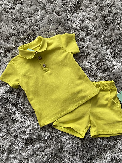 Collared shorts sets baby sizes lime yellow 3-36 Months